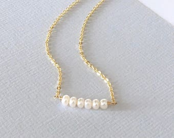 MINI BAR Freshwater Pearl necklace, 14k gold filled, gold minimalist layering necklace, delicate everyday modern, gift for her, white pearls