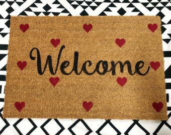 24x16 Welcome doormat with hearts