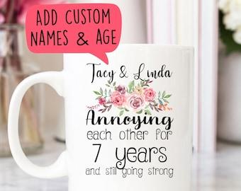 Personalized best friend gift, Custom names mug, Couple, Siblings mug, Annoying each other for years, Funny saying mug, Anniversary gift mug