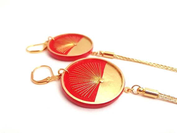 Yellow and gold leather earrings ZINA