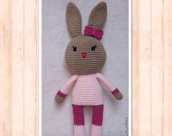 Plush Bunny - Handmade - Miss pink Lapinette - Amigurumi