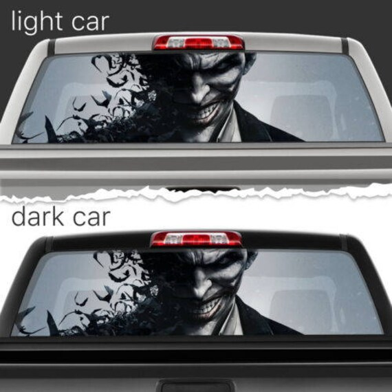Crazy joker batman rear window car perforated vinyl decal