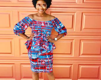 7ebb304f60e Easter Sale  Plus size Blue Multi color peplum dress
