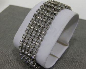 Vintage Multi-Strand Rhinestone Bracelet w/ Latch and Chain