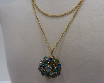 Vintage Blue & Green Rhinestone Ball Pendant (With New Gold-Tone Chain)