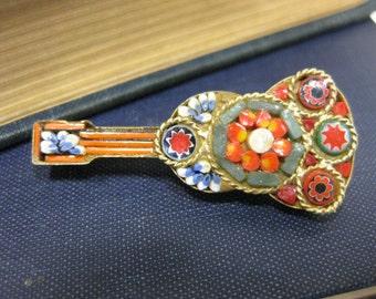 Vintage Guitar Shaped Mini Mosaic Pin