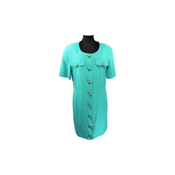 1980's Vintage Celine Turquoise Dress