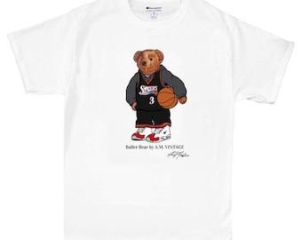 1b87aa8b6 Baller Bear Ralph Lauren T Shirt Vintage NBA Allen Iverson 1990s Polo Bear  90s Philadelphia 76ers