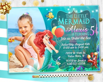 Little Mermaid Ariel Birthday Invitation Card Invite Party