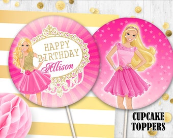 Barbie Cupcake Toppers Cake Pink Birthday Party Table Decor