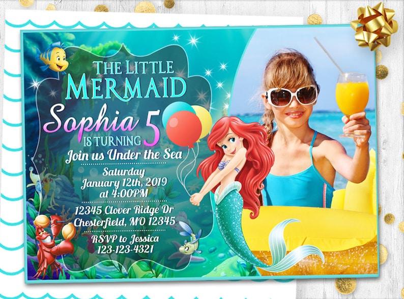Little Mermaid Ariel Invitation Birthday Card Invite Party