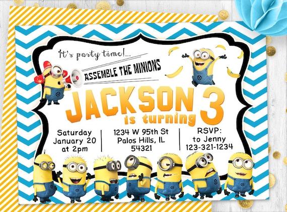 Minions Minion Invitation Invitation Inviter Carte Etsy