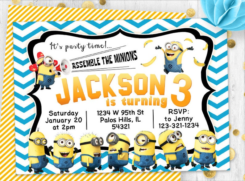 image about Printable Minion Invitations titled Range Printable Minion Birthday Playing cards Illustrations or photos