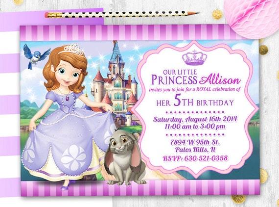 Princesa Sofía Invitación Tarjeta De Cumpleaños Sofía Invitar A La Princesa Sofía Tarjeta
