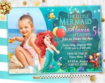 Ariel invitation etsy little mermaid ariel birthday invitation card invite birthday party filmwisefo