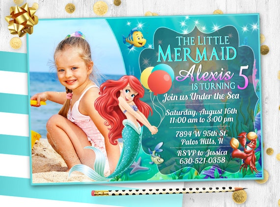 Little Mermaid Ariel Birthday Invitation Card Invite