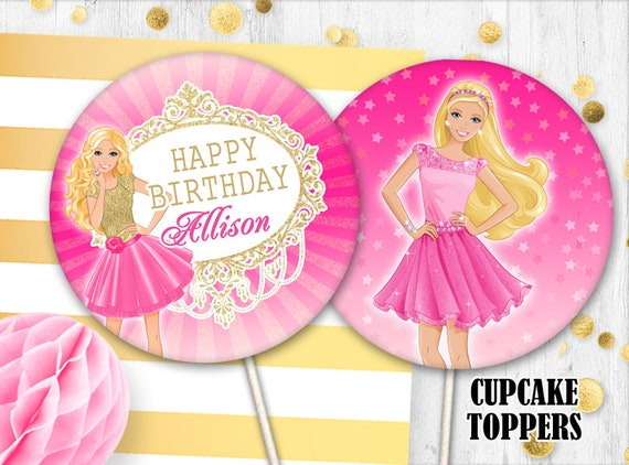 Fabulous Barbie Cupcake Toppers Barbie Cake Toppers Pink Barbie Etsy Personalised Birthday Cards Beptaeletsinfo
