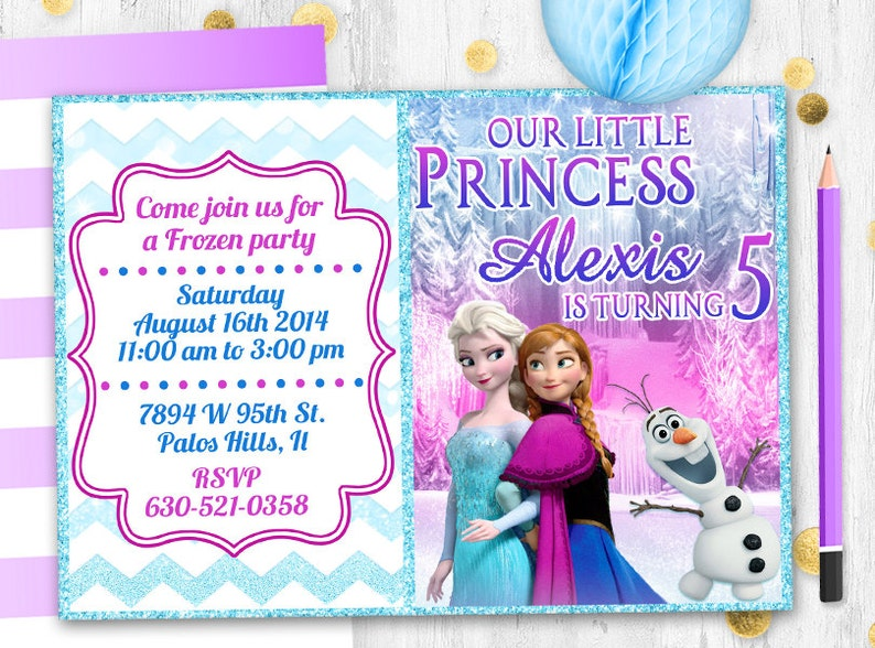 Disney Frozen Birthday Invitation Glitter Elsa