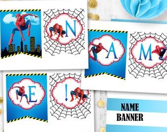 Spiderman Name banner Spiderman birthday party banner