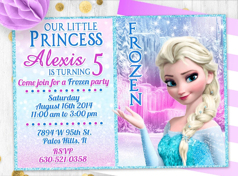 Frozen Invitation Birthday Glitter Elsa Digital Printable