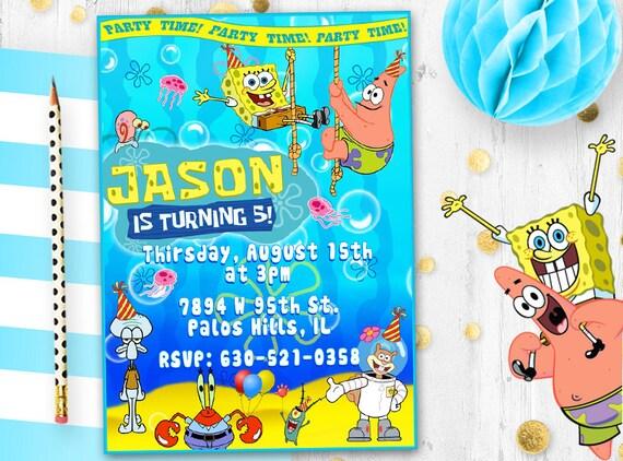 Spongebob Invitation Spongebob Squarepants Birthday Card Invite Birthday Party Invite Card