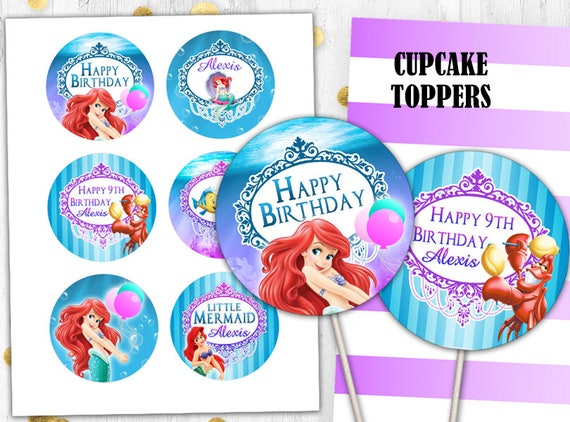 Little Mermaid Birthday Party Toppers Cupcake Toppers Cake Etsy