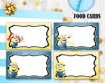 Minions Food cards Place cards Minions birthday party prints
