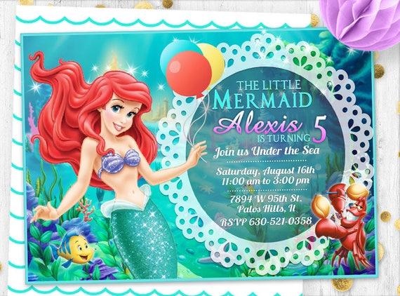 Mermaid Invitation Little Ariel Birthday