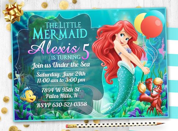 Little Mermaid Birthday Invitation Card Invite Mermaid Ariel Party Invitation