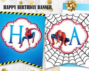 Spiderman Happy birthday banner Spiderman birthday party decoration