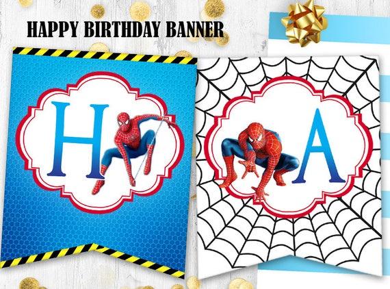 Spiderman Joyeux Anniversaire Banniere Spiderman Anniversaire Etsy