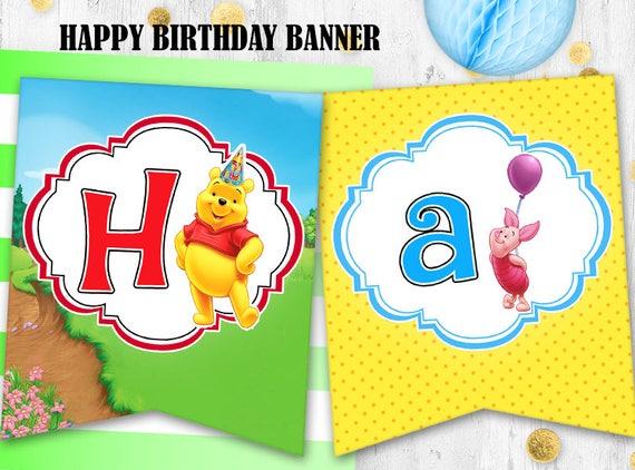 Winnie The Pooh Birthday Banner Bunting Printable Digital