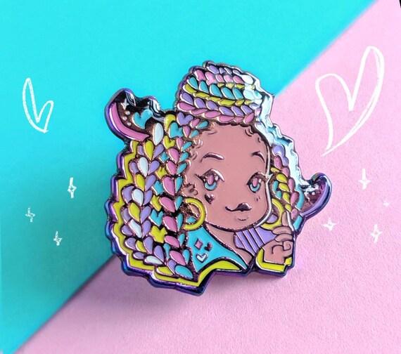 Colorful Braids Rainbow Anodized Metal Soft Enamel Pin