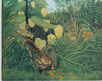 Henri ROUSSEAU :  Tiger devouring a Buffalo, Original signed and numbered LITHOGRAPH, 300 copies, 1976