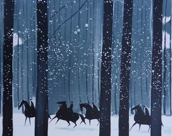 Serge LASSSUS : Riders in winter forest - original LITHOGRAPH signed #600 copies + certificate