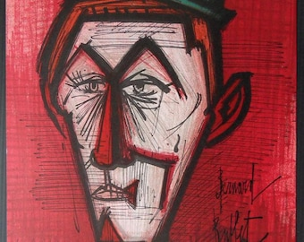 BUFFET Bernard : The Red clown - original signed LITHOGRAPH  - Referenced - MOURLOT 1967