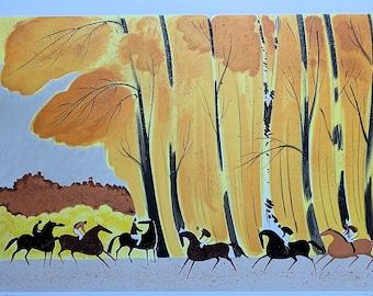 Serge LASSSUS : Horseback riding in fall - original LITHOGRAPH signed #250 copies + certificate