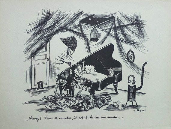 Humorous signed ETCHING The flying dummy 1943 PEYNET Raymond