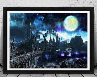 Dark Souls Print, Dark Souls Poster, Dark Souls Wall Art Decor, Dark Souls Art, Dark Souls Painting, Dark Souls, Castle, Fantasy Art, Prints