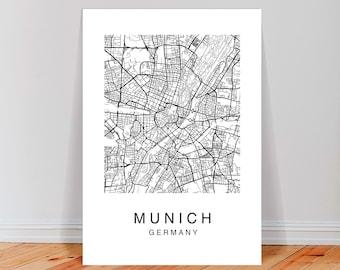 München Karte Schwarz Weiß.Kunstdruck München Etsy