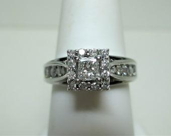 14K White Gold Princess Cut Diamond Engagement Ring-Sz 5.5 Estate Jewelry #1579