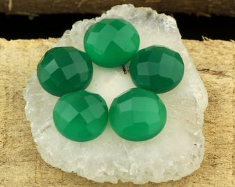 Green Onyx Faceted Round Cabochons, Checker Cut Gemstone Green Onyx,Calibrated 10x10mm Piece making jewelry - 5 Pcs Brilliant AAA Quality