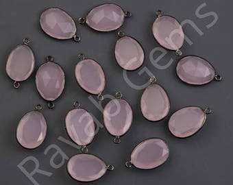 High Quality Pink Chalcedony Oxidized Silver Faceted 12x16mm Pear Single Bail Pendant  - 1 piece