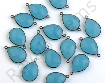 Top Quality blue Chalcedony Oxidized Silver Faceted 12x16mm Pear connector - Double Bail Connector - All Plating Available - 1 piece