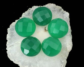 10 Pcs 8mm Green Onyx Faceted Round Cabochons, Checker Cut Gemstone Green Onyx,Calibrated Piece for making jewelry Brilliant AAA Quality