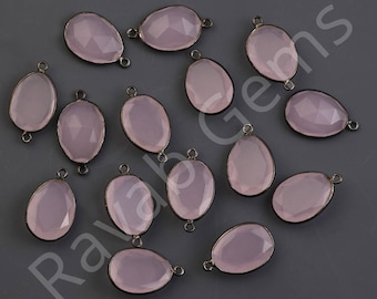 AAA Quality Pink Chalcedony Oxidized Silver Faceted 12x16mm Pear connector - Double Bail Connector - 1 piece