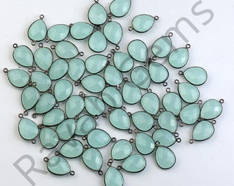 AAA Quality Aqua Chalcedony Oxidized Silver Faceted 12x16mm Pear Single Bail Pendant - All Plating Available - 1 piece