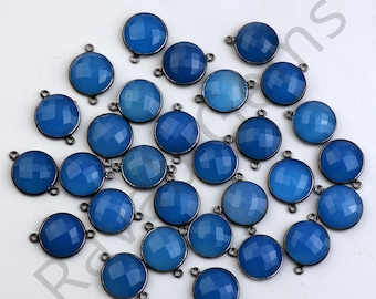 High Quality Blue Chalcedony Oxidized Silver Faceted 12x12mm Round Connector - Double Bail Connector - 1 piece