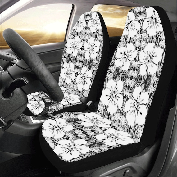 Hawaiian Car Seat Covers >> Hawaiian Hibiscus Car Seat Covers Black White Seat Covers Bucket Seat Covers Suv Seat Covers Wood Grain Floral Pattern By Vitalsole
