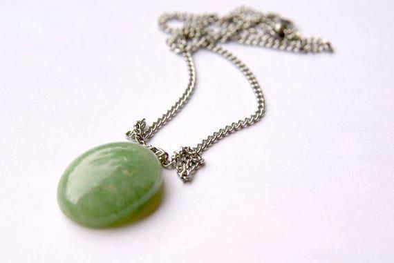 Natural Aventurine Jewelry, healing crystals, Gemstone Necklace, chakra Pendant Cabochon, Aventurine Gift for Her, july birthstone, handmade